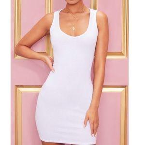 White Ribbed Scoop Neck Bodycon Dress